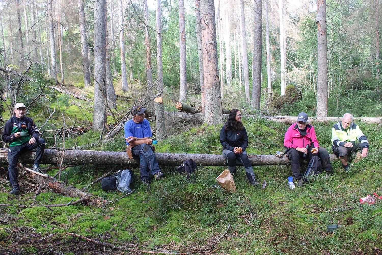 Dags för en fika i storskogen.Fr v Runar A, Bernt N, Marie Landh, Bernt S och Björn                 E. (Ej med på fotot: Leif A och Alf M)